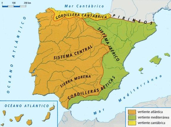 Vertientes Mapa Hidrografico De España.Geogra Pau Las Vertientes Hidrograficas Espanolas